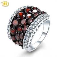 HUTANG anillos de boda Natural Topacio granate de piedras preciosas de anillo de Plata de Ley 925 bien joyería de piedra para las mujeres las niñas 2018 nuevo