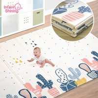 Infantile brillant 180*200cm enfants jouer tapis de jeu Cotoon tapis tapis tapis coton ramper couverture tapis de sol pour bébé cadeau