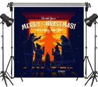 10x10FT escaparate Navidad familia caliente noche nevado Seamless lavable sin pliegues poliéster Fondo fotografía estudio