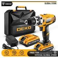 DEKO GCD18DU2 18 V Mini controlador de potencia con luz LED 2 velocidad batería de iones de litio de Taladro Inalámbrico de bricolaje en casa destornillador eléctrico
