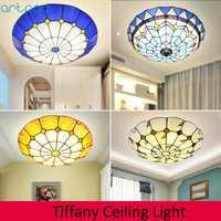 Lámpara de techo de cristal manchado con luz de techo redonda de mosaico mediterráneo para sala de estar