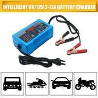 Cargador de batería 6 V/12 V Gel cargador de coche de la motocicleta de 12A 8A 2A 4-200AH