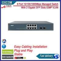 8 puertos 10/100/1000 Mbps interruptor gestionado con 2 ranuras Gigabit SFP 8 interruptor gestionado IGMP VLAN