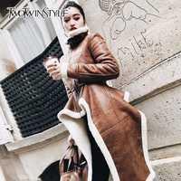 TWOTWINSTYLE Irregular de lana abrigos de cuero de la Pu de cuello alto con cremallera Midi largo abrigo de invierno gruesa hembra de gran tamaño marea de ropa