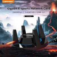 De alta potencia PA adaptador Wifi 1900 Mbps Gigabit E-Sports tarjeta de red de 2,4 Ghz + 5,8 Ghz USB 3,0 PC Lan Dongle receptor con 4 antenas