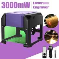 USB 3000 mW de escritorio máquina de grabador láser de 80x80mm grabado de logotipo bricolaje Mark cortador de impresora láser CNC máquina de talla