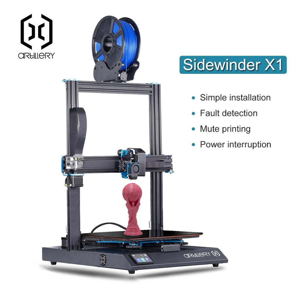 QXS US $399.98 Artillery 3D Printer Sidewinder X1 SW-X1 High Precision Large Plus Size 300*300*400mm 3d printer Dual Z axis TFT Touch Screen