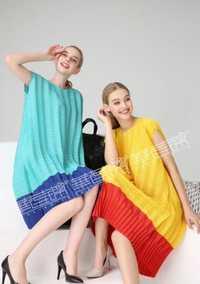 Envío Gratis Miyake moda doble manga corta de moda cuello recto vestido en STOCK