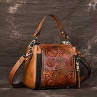 Vintage bolso de cuero genuino de las mujeres bolso mujer bolsos de hombro bolso Messenger de estilo Floral