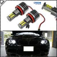 2 unids blanco 120 W XT-E CRE'E de alta potencia H8 LED para BMW Ángel ojos anillo marcador bombillas para BMW 1 3 5 serie Z4 X5 X6