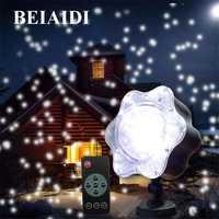 Beiaidi nevadas Navidad luz láser proyector al aire libre estrella copos de nieve al aire libre llevó la lámpara de la etapa boda jardín Luz
