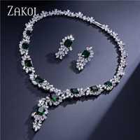ZAKOL de calidad superior en forma de flor conjunto de joyas de Zirconia cúbica deslumbrante Color plata de la joyería para mujer aniversario FSSP299