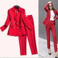 Costume femme 2019 été nouveau rouge costume veste professionnel slim costume veste neuf pantalon tempérament sauvage femmes deux pièces costume