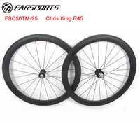 Farsports tubular ruedas de carbono completos 50mm Profundidad x 25mm ancho para bicicleta de carretera, 20 h/24 h habló agujeros acabado mate ruedas 700C