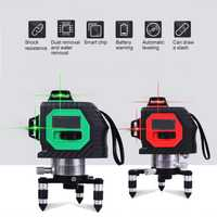 3D 12 líneas de nivel láser con trípode poderoso rayo rojo verde línea láser de nivel 360 Vertical Horizontal nivel láser herramientas