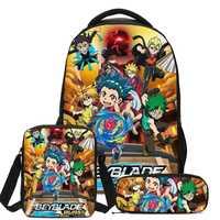 De dibujos animados de Beyblade estallar juego 3D imprimir los estudiantes mochila 3 unids/set casuales de los hombres Bookbags bolsas para la Escuela de las niñas adolescentes niños mochila