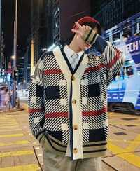 Cardigan hombres otoño y el invierno nuevo Casual cómodo flojo de gran tamaño moda Streetwear imprimir suéter manga larga Hombre