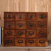 1 unidad organización Unid de almacenamiento para el hogar Decoración de madera Vintage cama de madera caja de almacenamiento cajón caja de maquillaje caja de almacenamiento EJL 0900