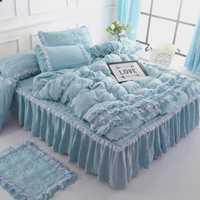 Textiles para el hogar de alta calidad serie cama lavado de algodón 4 piezas ropa de cama juegos de cama funda nórdica falda de cama funda de almohada 4 piezas con lac