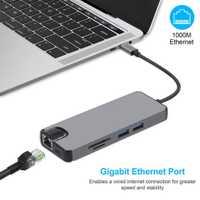 8 en 1 Tipo C hub tarjeta USB 3,0 tipo C a 4 K HDMI VGA Lan Ethernet RJ45 adaptador lector con puerto de carga