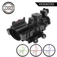 LUGER 4x32 ACOG caza Riflescope punto rojo reflejo táctico óptica vista alcance con 20mm estructuras de ferrocarril para rifle Airsoft pistola de aire