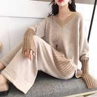 2019 hiver automne nouvelles femmes 2 pièces pantalons costumes tricoté col en v lâche solide chandail et pantalon large dame élégant pantalon costumes