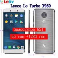 Original Letv LeEco X950 6G ram 128G Rom le Turbo FDD 4G teléfono celular 5,5 pulgadas Snapdragon 821 13MP 2 Cámara Dolby