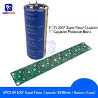 Sin soldadura 6 piezas 3V 500F 35*88mm 4 pines condensador Super Farad bajo ESR súper condensador con tablero de protección de equilibrio para coche