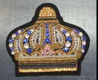 Rhinestone corona broche de remiendo bordado seda India Alambres bordado a mano insignia Telas moda parche ropa DIY artesanía