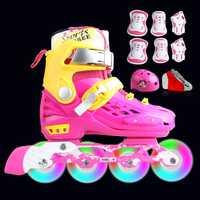 Profesional de patines para niños patines en línea zapatos intermitente 4 ruedas al aire libre Fingure zapatos de patinaje Patins