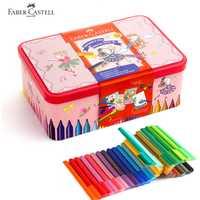 Faber Castell 40 colores arte marcador de fibra punta acuarela conector pluma bailarina caja de lata para el regalo de los cabritos juego pintura, dibujo