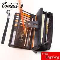 Contact en cuir véritable Long portefeuille grande capacité hommes porte-monnaie mâle pochette portefeuilles sac de téléphone portable Portomonee porte-carte