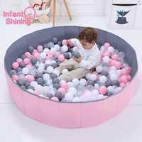 Enfant brillant piscine à balles diamètre 120 CM/47IN pliable océan piscine à balles parc jouet lavable anti-dérapant clôture enfant cadeau