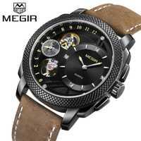 Relojes para hombre MEGIR reloj de lujo de marca superior para hombre, reloj de pulsera deportivo de cuarzo, correa de cuero, reloj militar Erkek Kol Saati