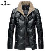 SHNABAO de la marca de lujo de alta calidad pato blanco abajo suave gruesa chaqueta caliente 2018 invierno de los hombres casuales de cuello de lana, abajo de la chaqueta