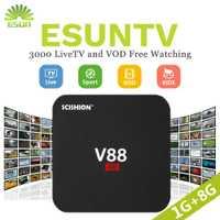 V88 Android TV Box con 1 año ESUNTV configurado árabe/Europa/francés/Italia/Portugal IPTV Set top box media player
