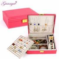Guanya Double couche grande capacité cadeau boîte à bijoux accessoires en velours ornements affichage organisateur stockage boîte de transport boîtes