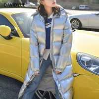 Chaqueta parka larga de invierno 2018 abrigo de invierno de manga larga con capucha de metal plateado para mujer