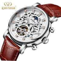 KINYUED esqueleto reloj automático sol Luna fase impermeable para hombre Mecánico Tourbillon relojes marca de lujo Relojes