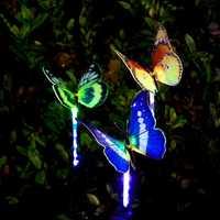 El más nuevo 3 piezas jardín Solar luces al aire libre Multi-color cambiar LED de fibra óptica de luz decorativa