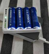 4 piezas JUGEE 1,5 v 3000mWh AA Li-polímero Li-ion baterías recargables de polímero de litio + cargador