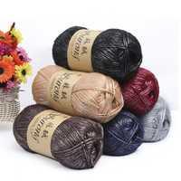 500 g/bolsa de fibra larga egipcio algodón cachemir flor estilo hecho a mano bufandas de punto de aguja hilo de ganchillo para hacer punto