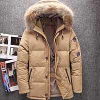 Hiver grande véritable fourrure capuche canard vers le bas vestes hommes chaud de haute qualité vers le bas manteaux mâle décontracté hiver extérieur vers le bas Parkas JK-633