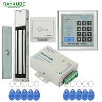 RAYKUBE Kit de sistema de Control de acceso 280 kg/180 kg cerradura magnética eléctrica + contraseña abridor de puerta de teclado