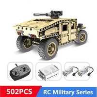 502 piezas de bloques de construcción técnica militar Control remoto RC armados Hummer coche Compatible con Legoingly juguetes para niños regalos