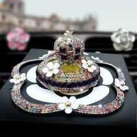 Nilo brillante hecho a mano de pavé de diamantes de imitación del Interior del coche Perfume con hermosa flor decoración Perfume para coche de accesorios de lujo
