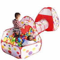 0-6 años de edad juguetes para bebés Túnel de tienda de campaña para niños de tres piezas Juego de Pelota Marina Casa de piscina plegable tienda de juguete de seguridad de moda