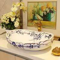 TY711 cerámica encimera lavabos alta calidad balcón lavabo contrario lavabo arte hogar lujoso lavabo de baño