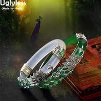 Bracelets en argent Sterling 925 véritable solide Uglyless pour femmes Bracelets en calcédoine de paon en argent thaï Jade Bracelets Vintage bijoux