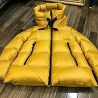 2019 nuevas mujeres invierno grueso caliente 90% pato blanco abajo abrigos capucha señora medio largo encapuchado Parkas nieve abrigos chaquetas amarillo caliente